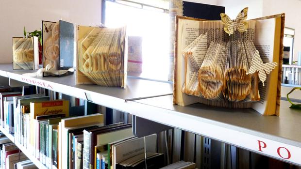 Algunos de los libros intervenidos, en la biblioteca de Montequinto - ABC